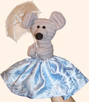Вязанная кукла-перчатка. Мышка.