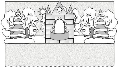 Зайкина избушка. Вид сцены с ледяным дворцом.