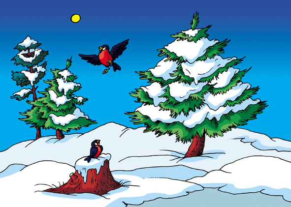 Сорока ворона времена года зима худ
